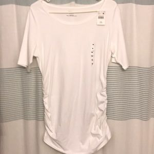 NWT maternity white tee with gathered sides